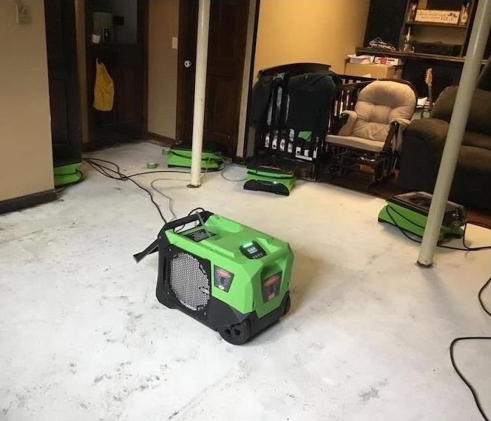 SERVPRO equipment at work in basement