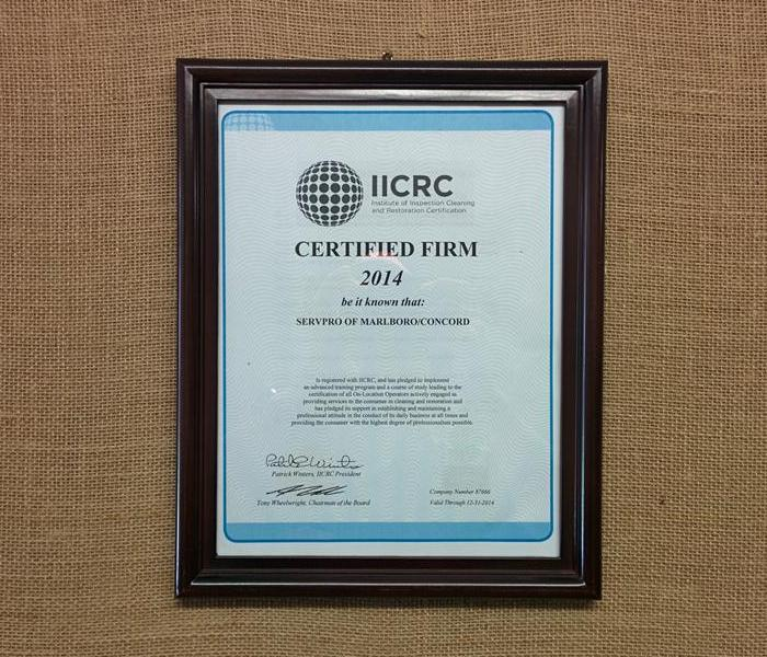 General SERVPRO of Merrimack Becomes an IICRC Certified Firm