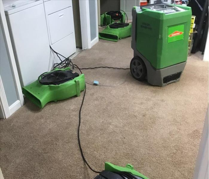 drying equipment on a brown carpet