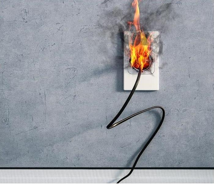 Cord catching fire at outlet